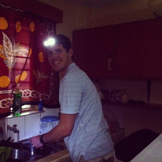 Doing dishes with a headlamp